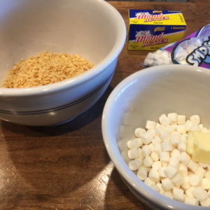 Candy Corn Crispy Treats Step 1