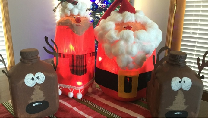 Learn How To Create Santa, Mrs. Claus and Reindeer With Milk Jugs