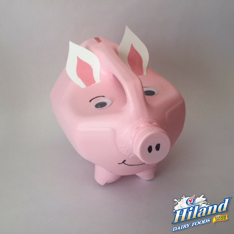 Diy milk jug piggy bank the hiland home for How to make a piggy bank you can t open