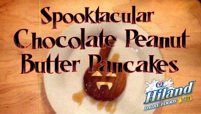 Spooktacular Chocolate Peanut Butter Pancakes from The Dairy Diva
